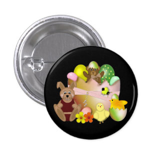 Happy Easter Bunny with chickens Pinback Button