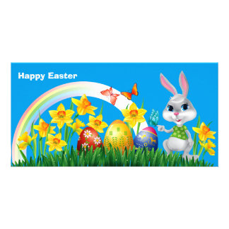 Happy Easter Bunny with colored eggs Card