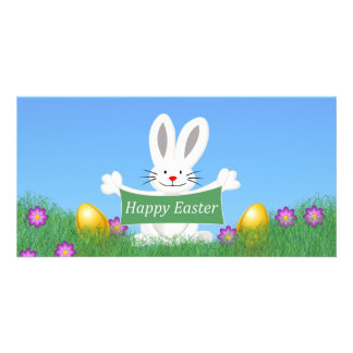 Happy Easter Bunny with colorful eggs Card