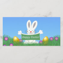 Happy Easter Bunny with colorful eggs Holiday Card