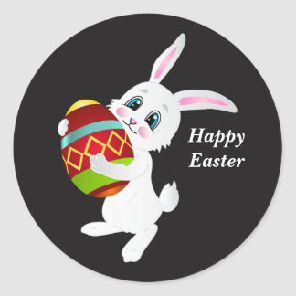 Happy Easter Bunny with decorated egg Classic Round Sticker