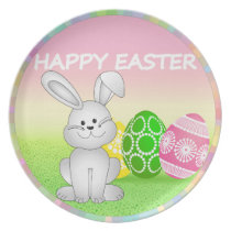 HAPPY EASTER BUNNY WITH EASTER EGGS. EASTER  GIFT MELAMINE PLATE