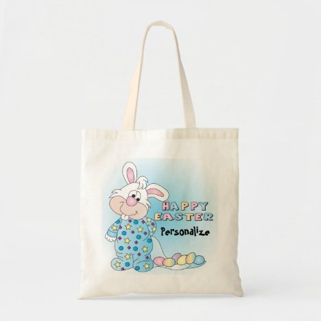 Happy Easter Bunny with Easter Eggs Tote Bag