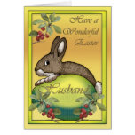 Happy Easter bunny with egg, for Husband Greeting Card
