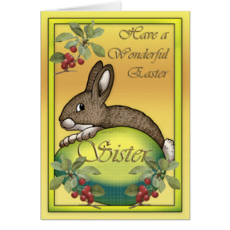 Happy Easter bunny with egg, for Sister Card