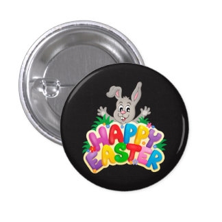 Happy Easter Bunny with text Pinback Button