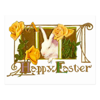 Happy Easter Bunny with Yellow Roses Postcard