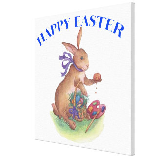 """Happy easter bunny Wrapped Canvas 24x24"""" Stretched Canvas Print"""