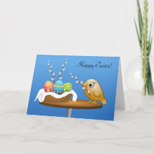 Happy Easter! Card - Have a wonderful Easter with an adorable bird and three colorful eggs in a basket nest.
