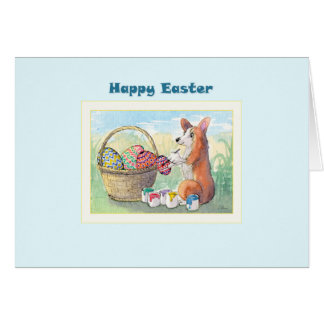 Happy Easter card, Corgi dog painting Easter eggs Card