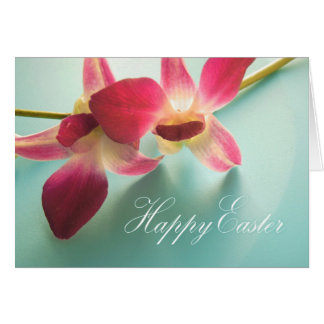 Happy Easter Card (magenta orchids)