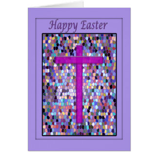 Happy Easter Card, Stained Glass and Cross Card