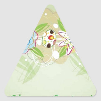 Happy easter card triangle sticker