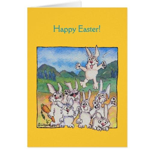 Happy Easter Cartoon Bunnies Greeting Cards