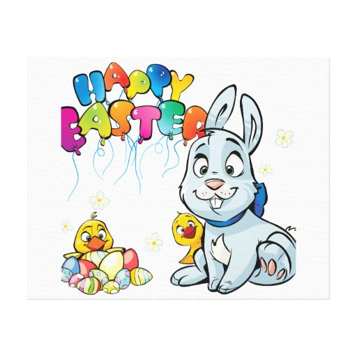 Happy Easter Cartoon Canvas Prints