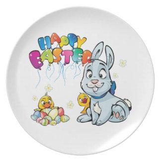Happy Easter Cartoon Plate