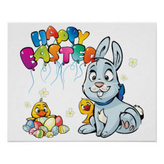 Happy Easter Cartoon Poster