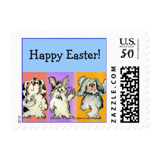 Happy Easter Cartoon Rabbits Small Postage