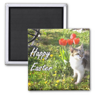 Happy Easter cat magnet