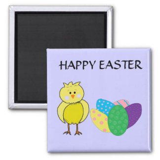Happy Easter Chick And Eggs Magnet