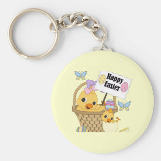 Happy Easter Chick Basic Round Button Keychain