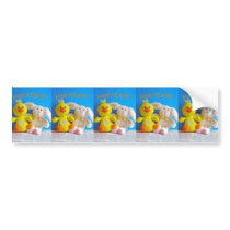Happy Easter Chick   Bunny Bumper Sticker