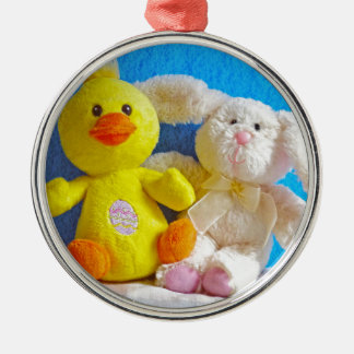 Happy Easter Chick + Bunny Metal Ornament
