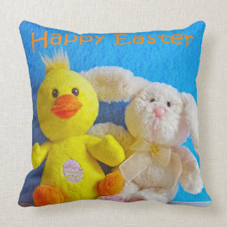 Happy Easter Chick + Bunny Throw Pillow