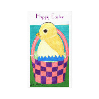 Happy Easter Chick by Julia Hanna Canvas Print