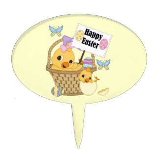 Happy Easter Chick Cake Toppers