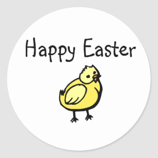 Happy Easter Chick Classic Round Sticker