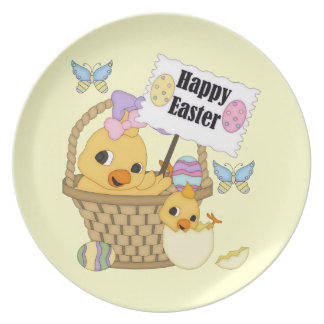 Happy Easter Chick Party Plate