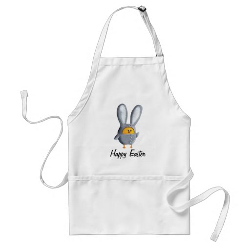 Happy Easter chicken in bunny costume Adult Apron