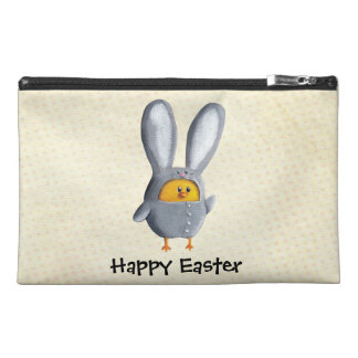Happy Easter chicken in bunny costume Travel Accessories Bag
