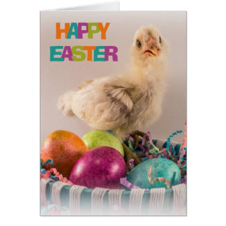 Happy Easter Chicken in Egg Basket Card