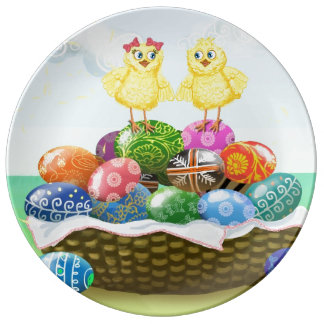 Happy Easter chicken Porcelain Plate