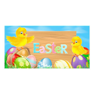 Happy Easter Chickens with colored eggs Card