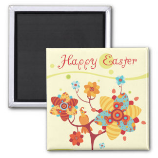 Happy Easter Chicks 2 Inch Square Magnet