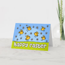 Happy Easter Chicks Card - Happy Easter greeting card with chicks and daisies.