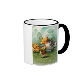 Happy Easter Chicks Look into Painted Egg Ringer Coffee Mug