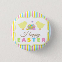 Happy Easter Chicks Pin Back Button