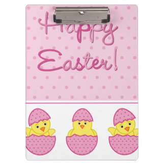 Happy Easter Chicks Pink Clipboard
