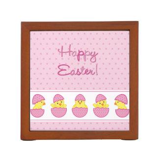 Happy Easter Chicks Pink Desk Organizer