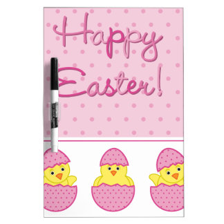 Happy Easter Chicks Pink Dry-Erase Board