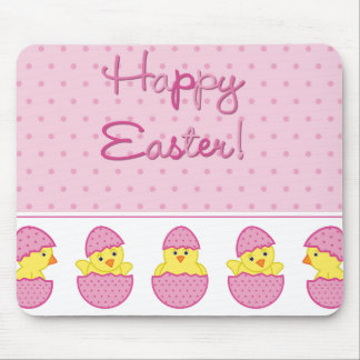 Happy Easter Chicks Pink Mousepad