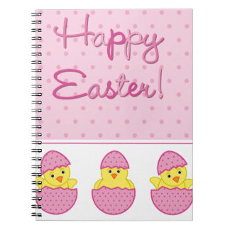Happy Easter Chicks Pink Notebooks