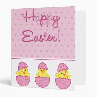 Happy Easter Chicks Pink Vinyl Binder