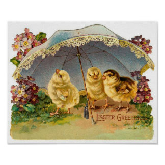 Happy Easter Chicks Vintage Poster