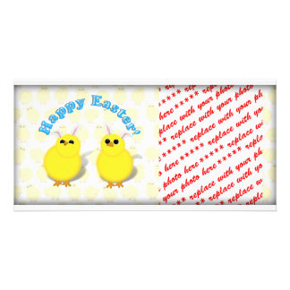 Happy Easter Chicks W/Bunny Ears Photo Card
