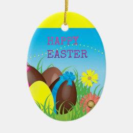 Happy Easter Choclate Eggs Ceramic Ornament